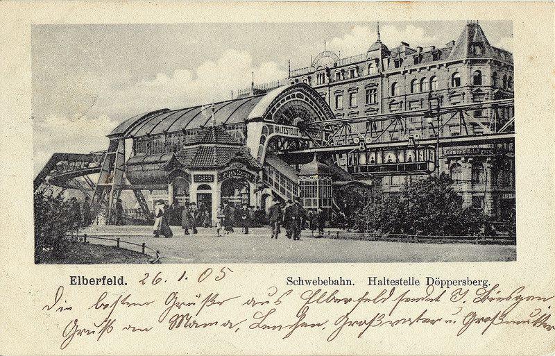 """Historische Ansichtskarte / vintage picture postcard. """"Elberfeld. Schwebebahn. Haltestelle Döppersberg."""""""