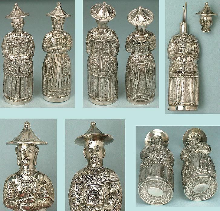 Rare Antique Figural Chinese Man & Lady Silver Needle Cases * Circa 1850