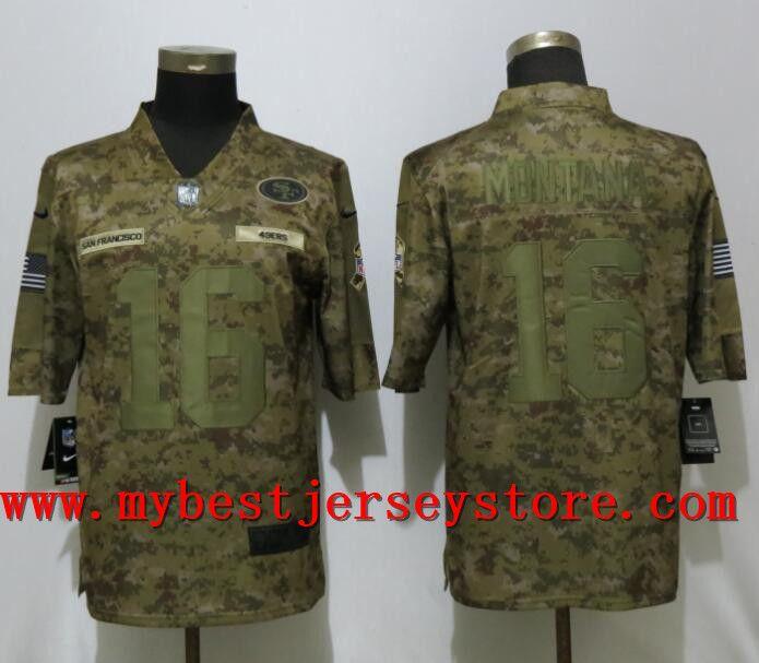 detailed look ee544 a5cb5 Nike #49ers #16 Joe #Montana Camo Salute To Service Limited ...