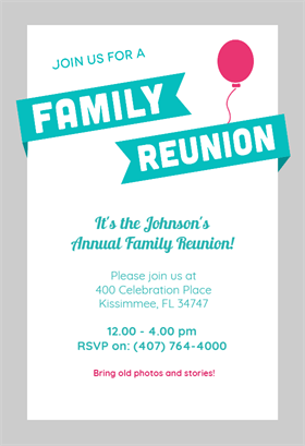 blue ribbons free printable family reunion invitation template