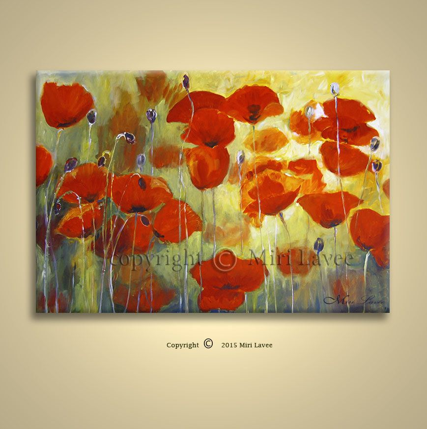 Oil Painting Original Flower Wall Art, Large Aall Art, Red Poppies ...