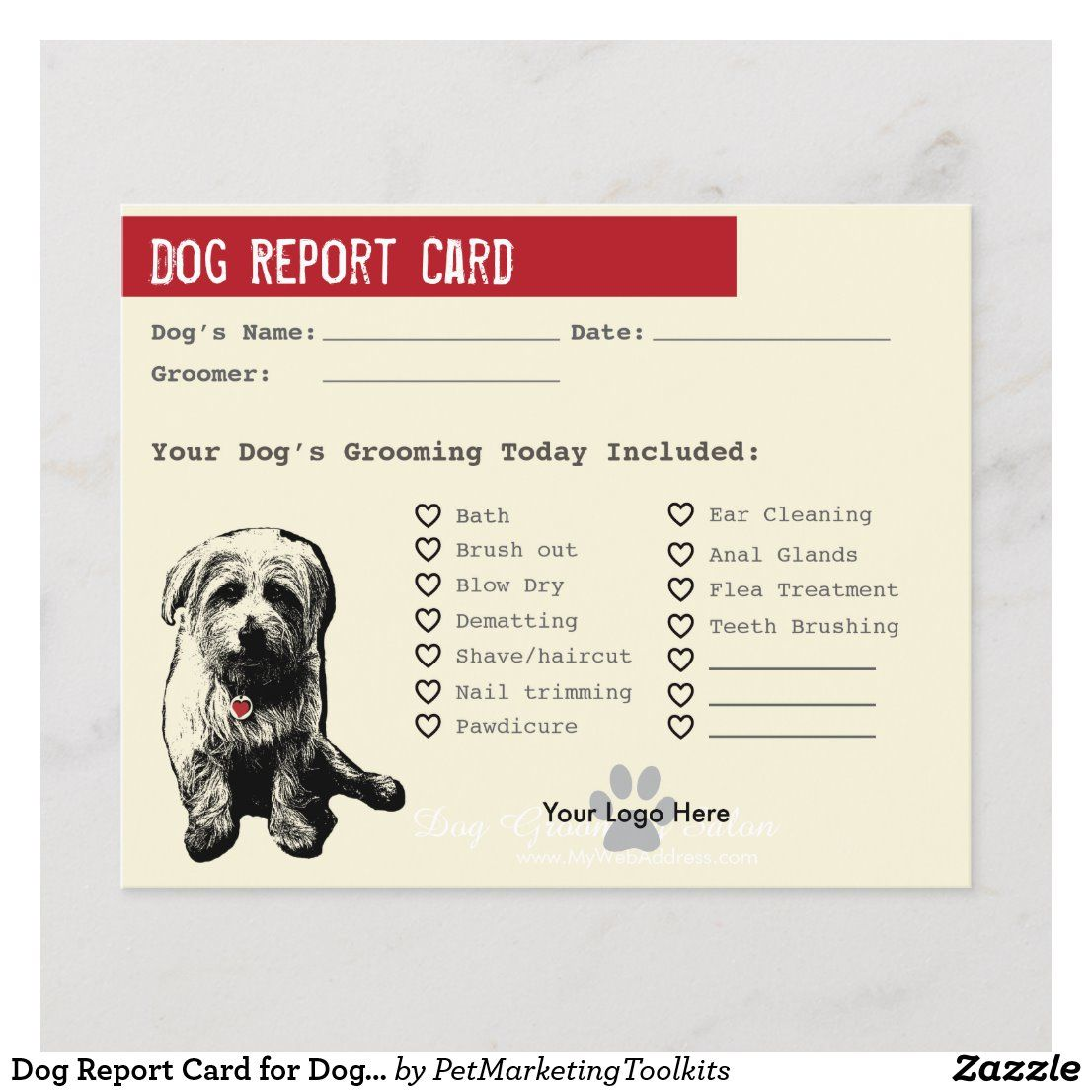 Dog Report Card For Dog Groomers Zazzle Com Report Card Template Dog Groomers Groomer