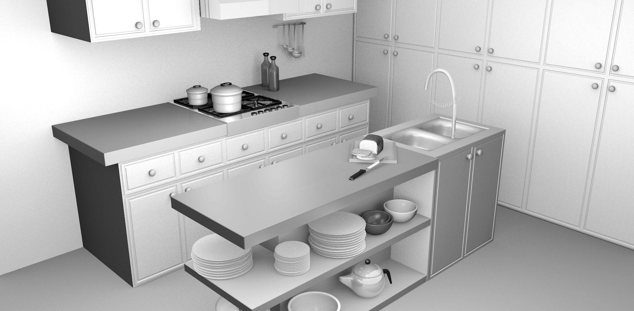 Ordinaire Blender 3D Kitchen Model Blender 3D Architecture Renders