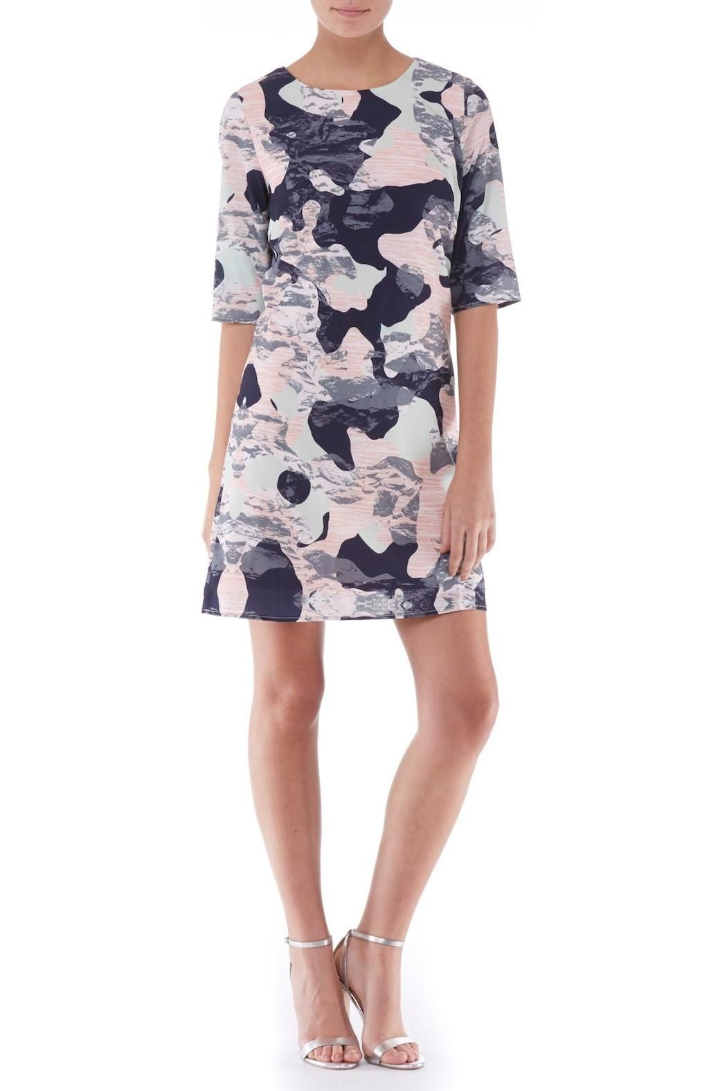 """Refreshingly modern, the Amelia Camo Print Dress combines a wearable tunic shape with a beautiful abstract print with portions of icy green, soft peach and deep navy, finished with a grey overlay, evocative of mountain tops. Fully lined. Concealed zipper. Wash on delicate setting and iron inside out.    Measures: 35.4"""" L   Camo Print Dress by Sugarhill Boutique. Clothing - Dresses - Short Sleeve Clothing - Dresses - Printed Tyne and Wear, North East England, England, United Kingdom"""