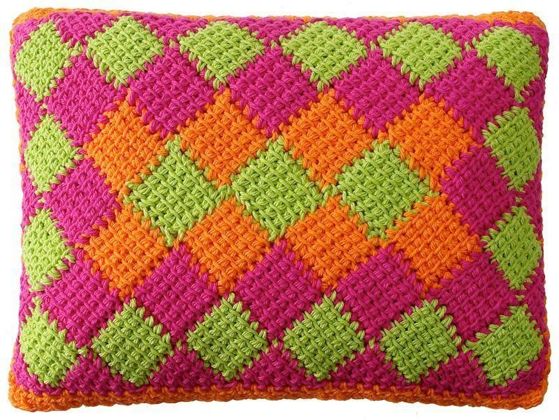 Entrelac Crochet Tutorial | Pinterest | Cojines de punto, Cortinas ...