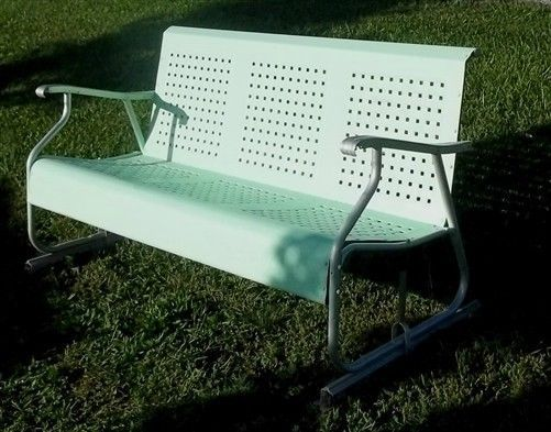 Green Patio Porch Glider Mid Century 50s 60s 70s Metal Lawn Chair Garden Seat Metal Lawn Chairs Rocking Chair Porch Lawn Chairs
