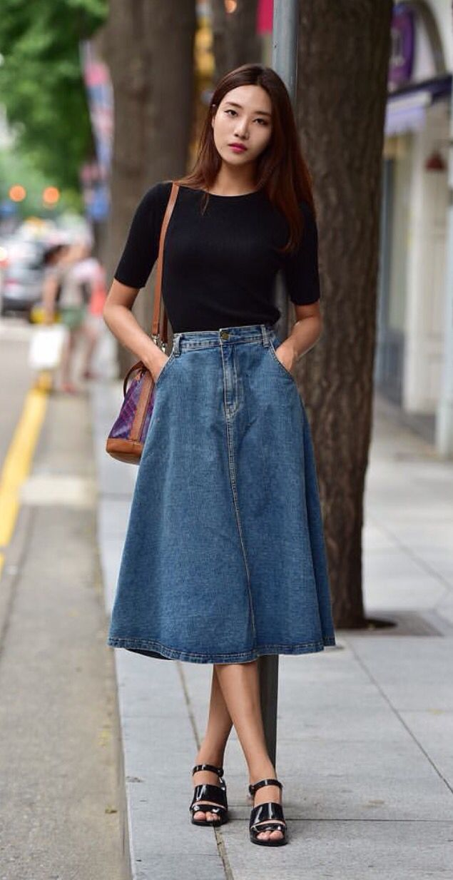 Love this denim midi skirt u2026 | Pinteresu2026