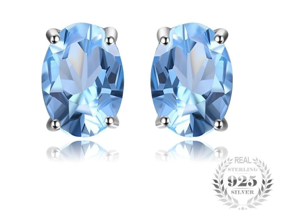 38a3eff8d Oval 1.9ct Natural Sky Blue Topaz Birthstone Stud Earrings Solid 925  Sterling Silver