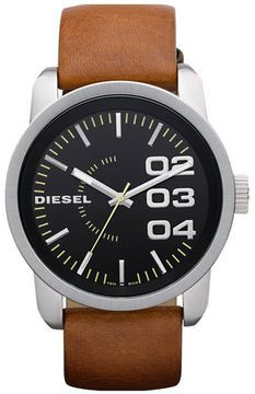 DIESEL® 'Franchise' Leather Strap Watch, 46mm on shopstyle.com