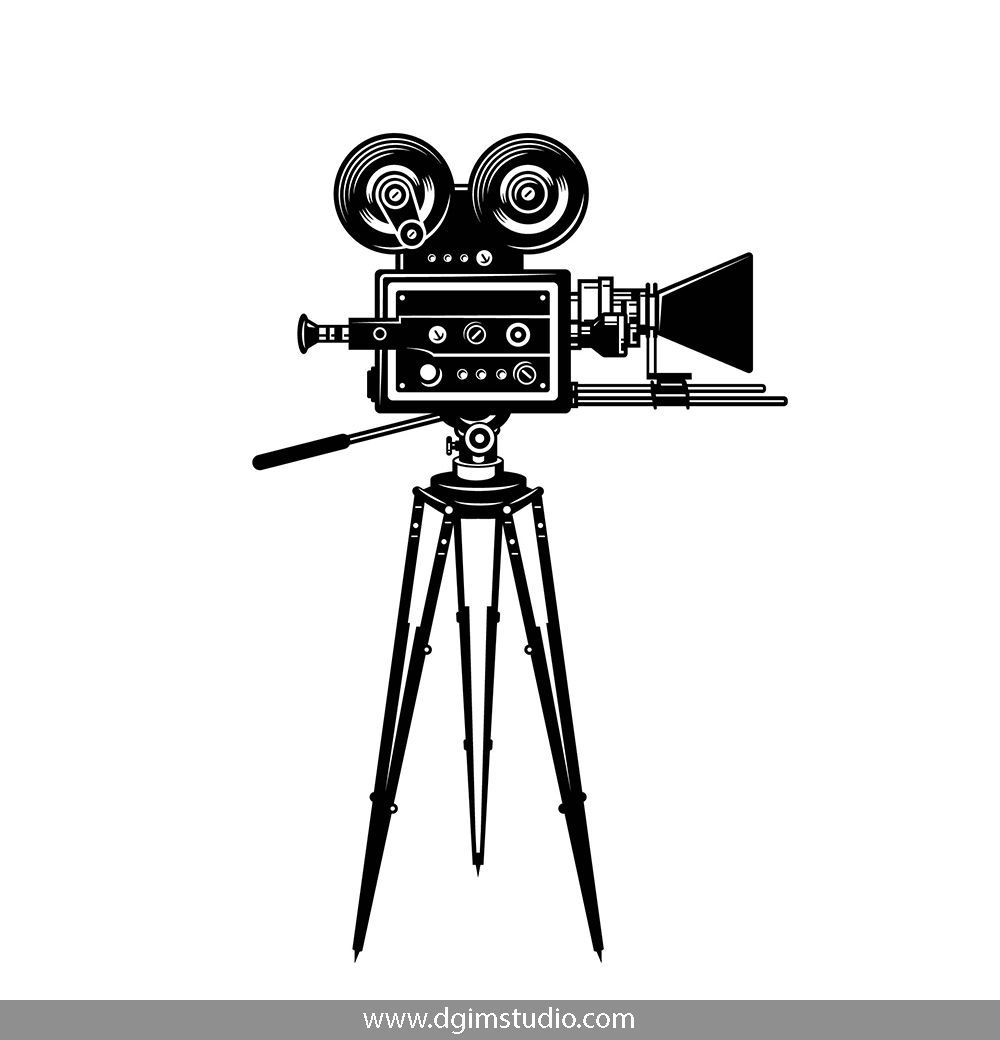 Vintage Monochrome Movie Camera Click To The Link To Find More Cinema Elements Badges And Emblems V Camera Drawing Camera Illustration Vintage Film Camera