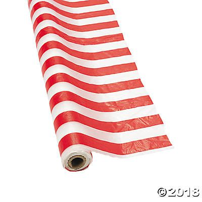 Red U0026 White Striped Plastic Tablecloth Roll