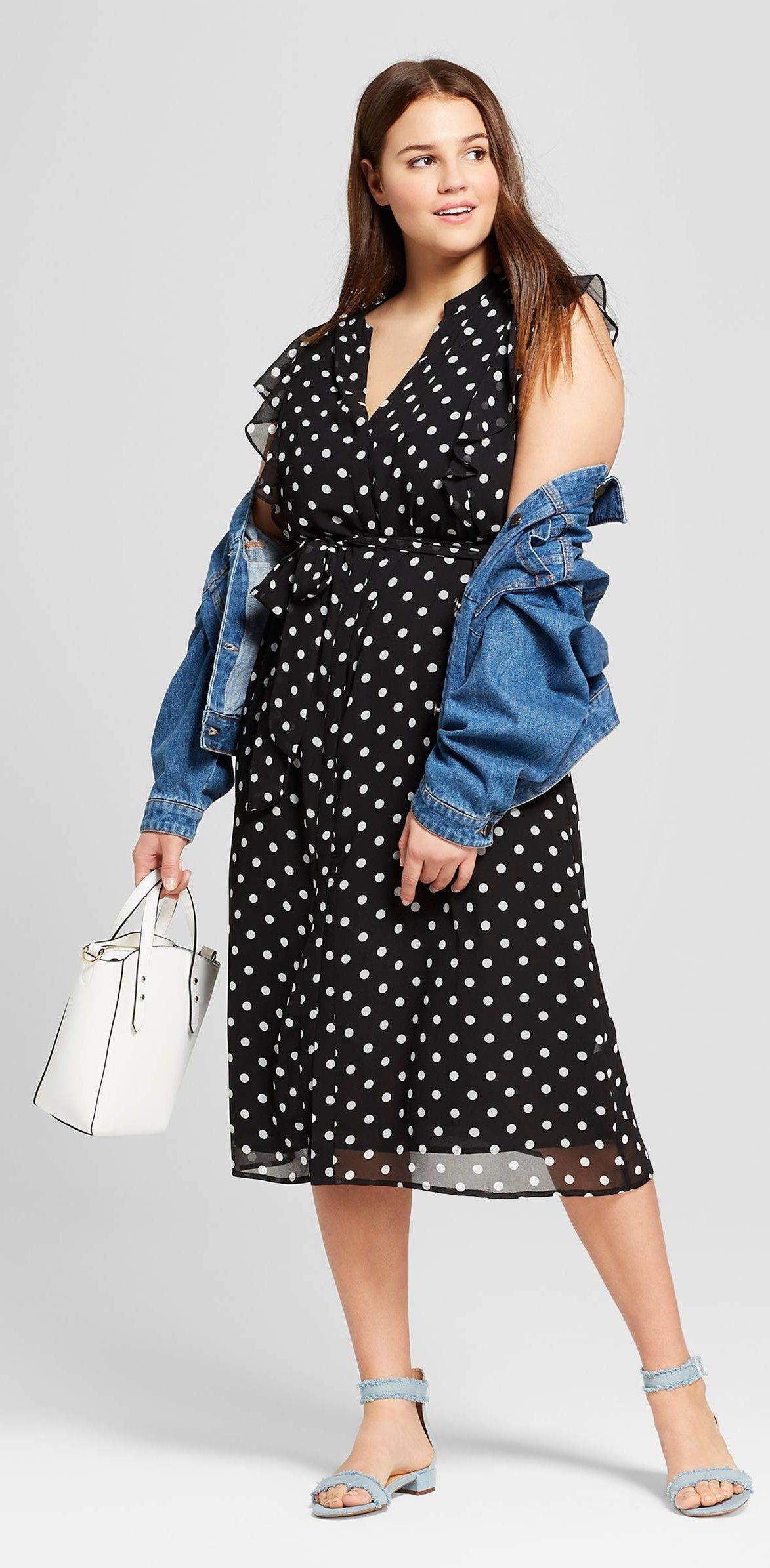 Plus Size Ruffle Sleeve Midi Dress - Plus Size Fashion for Women #plussize