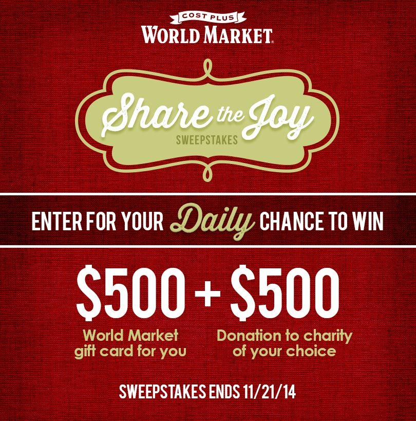 Win Gift Cards   Sweepstakes   World market, Instant win