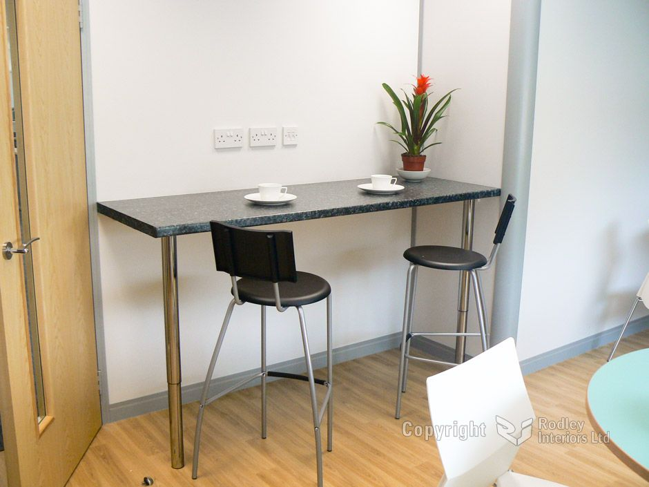 wall mounted bar table the office kitchen area also has. Black Bedroom Furniture Sets. Home Design Ideas