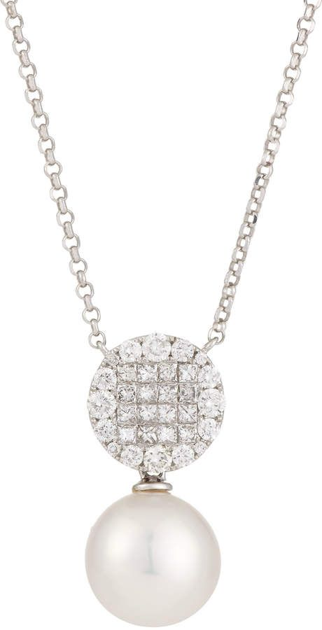 Belpearl 18k Diamond & Pearl Pendant Necklace WqCCEd