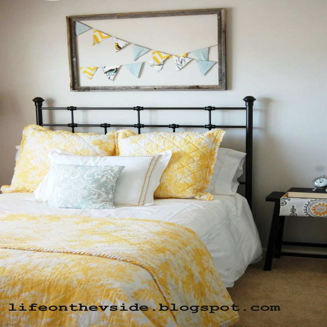 Window side bed  gray and yellow bedroom  bedroom window treatment ideas check more