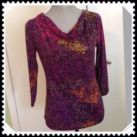 """NWT Premise Studio top NWT Premise Studio beautiful purple/pink multi colored top. The neck line is a loose """"cowl"""" style...adds so much style with a sexy twist. Polyester/spandex blend. Perfect top to dress up any outfit! Premise Studio Tops"""