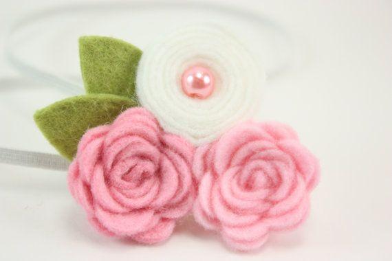 Pink White Flower Headband Felt Por Blueskydesignsco
