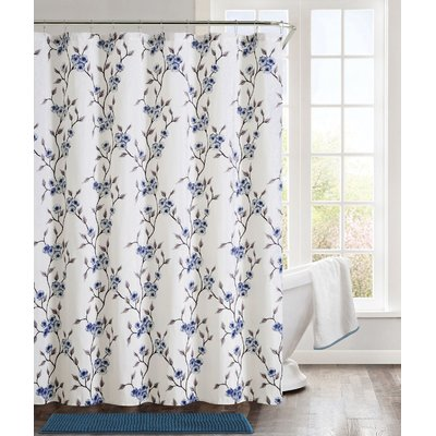 Bungalow Rose Gallager Shower Curtain Set Color Cherry Blossom Blue