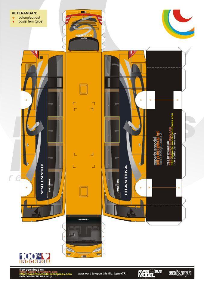 Pola Papercraft Bus Indonesia Di 2020 Papercraft Pola Indonesia