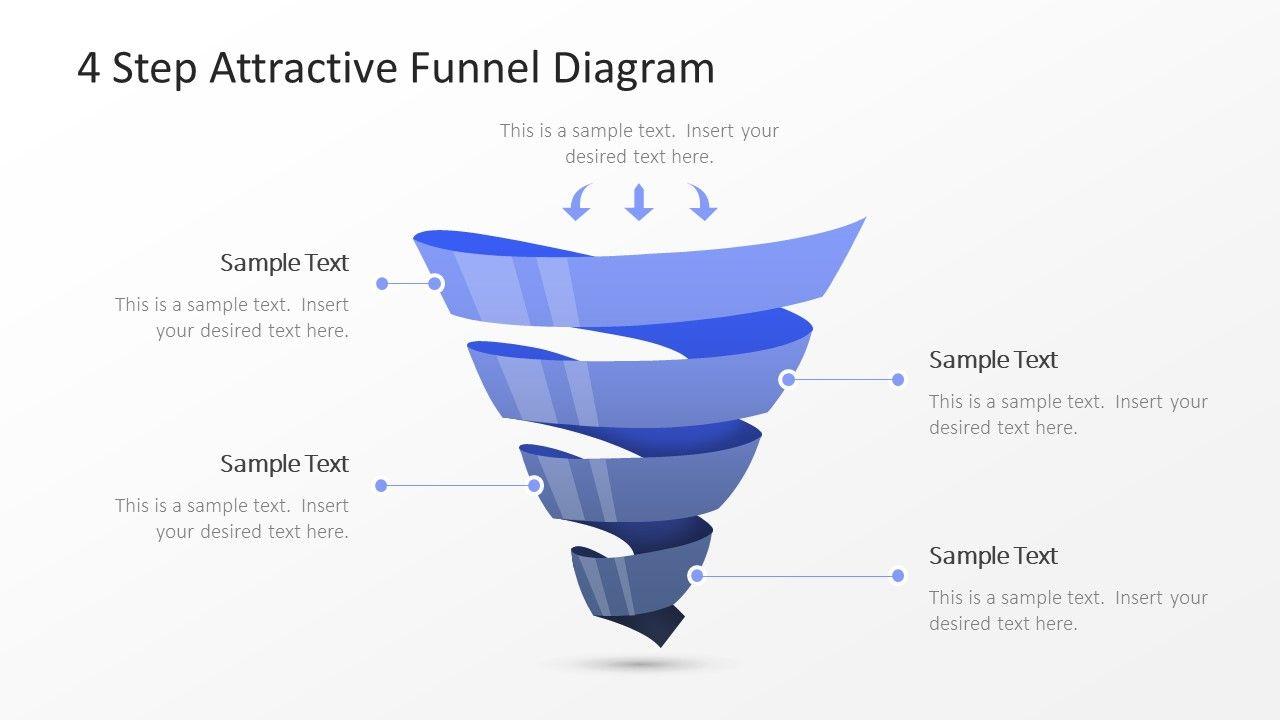 4 Step Attractive Funnel Diagram Slidemodel Powerpoint Slide Designs Diagram Business Powerpoint Templates