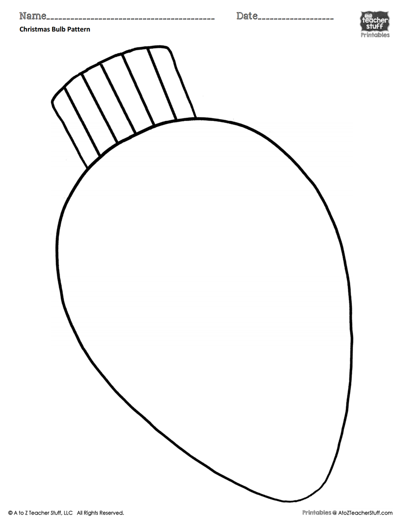 Christmas Bulb Coloring Pattern or Coloring Sheet | A to Z ...
