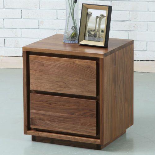 Tobias 2 Drawer Bedside Table Solid Walnut 40x45x50cm Furniture Design Wooden Bedside Table Bedside Table