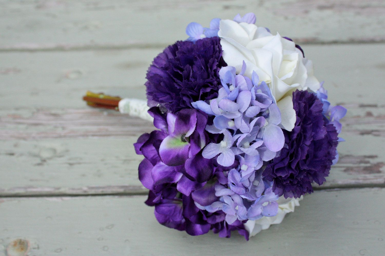 Purple Lavender Ivory Silk Wedding Bouquet Roses Hydrangea Carnations