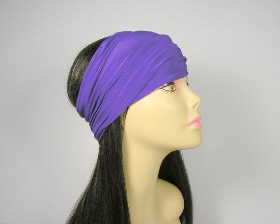 Purple Lycra Head Wrap Purple Yoga Swim Headband Lavender Head Wraps Purple Turban Head Wrap Workout Headbands  Headbands Lycra Head Wrap #headwrapheadband