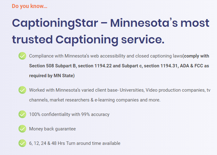 We offer the best-quality captions in Minnesota at ...