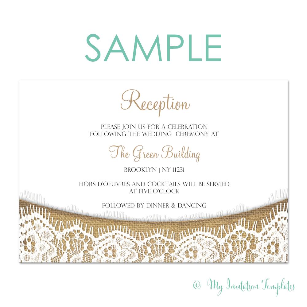 supérieur Burlap and Lace Rustic Wedding Reception Invitation Template Wedding Reception  Invitations, Rustic Wedding Reception,