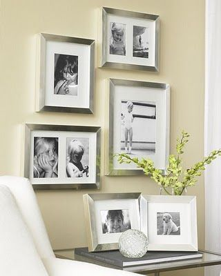 Love the silver frames with black and white photos-add pictures of ...