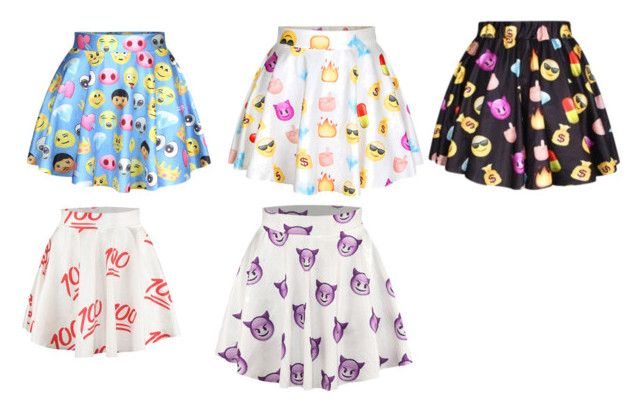 """""""emoji skirt"""" by trinitykelly-1 ❤ liked on Polyvore"""