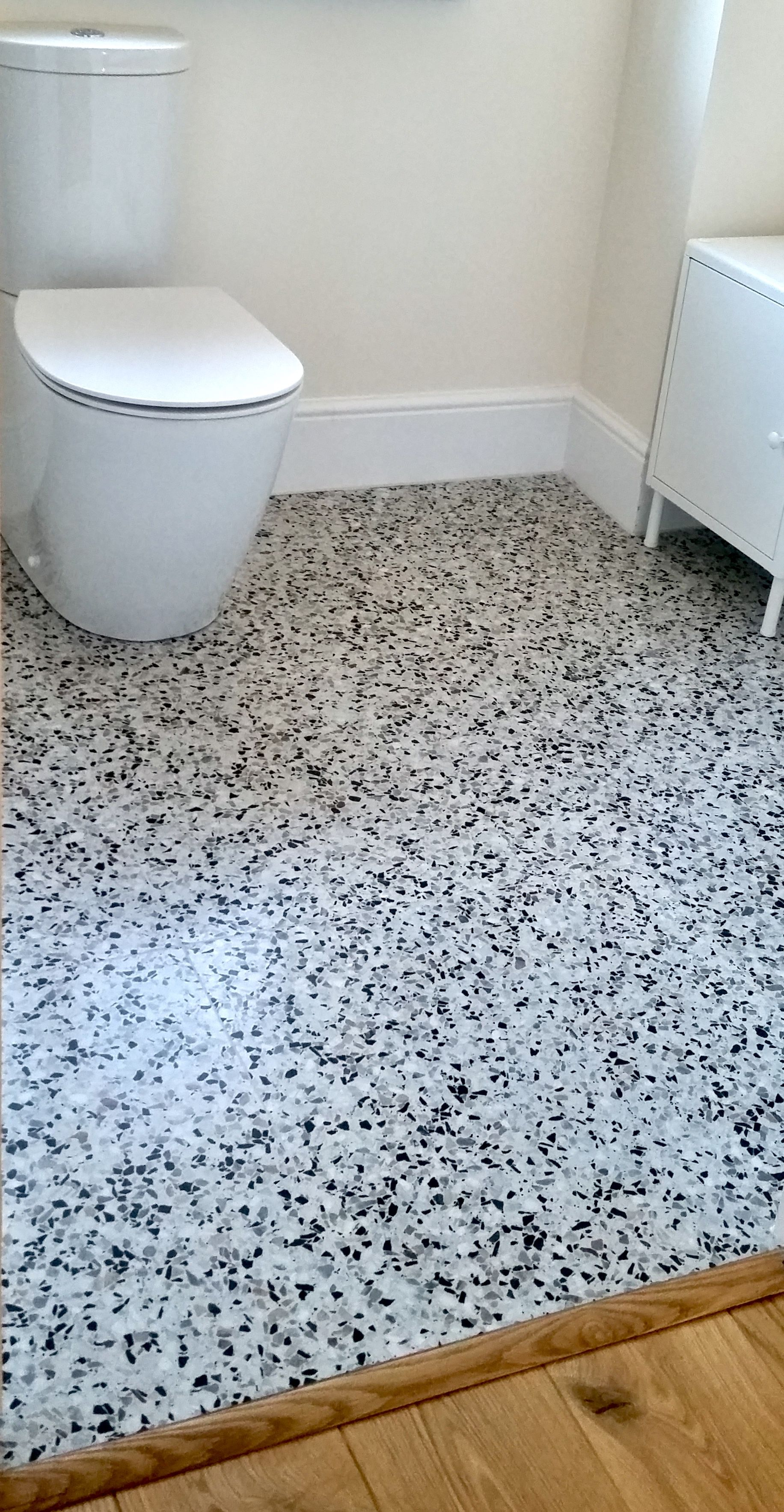 Verona Terrazzo honed 30cm*30cm tile laid in in this recent bathroom ...