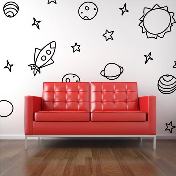 Space Wall Decal Rocket Planets Stars by threethirtysix on Etsy