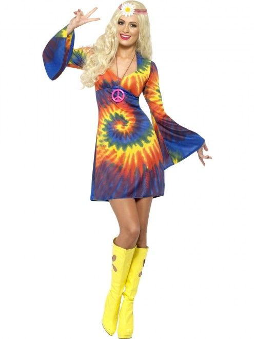 1960s Tie Dye Dress | 1960s Costumes | Hippies, Flower Power & Mods ...