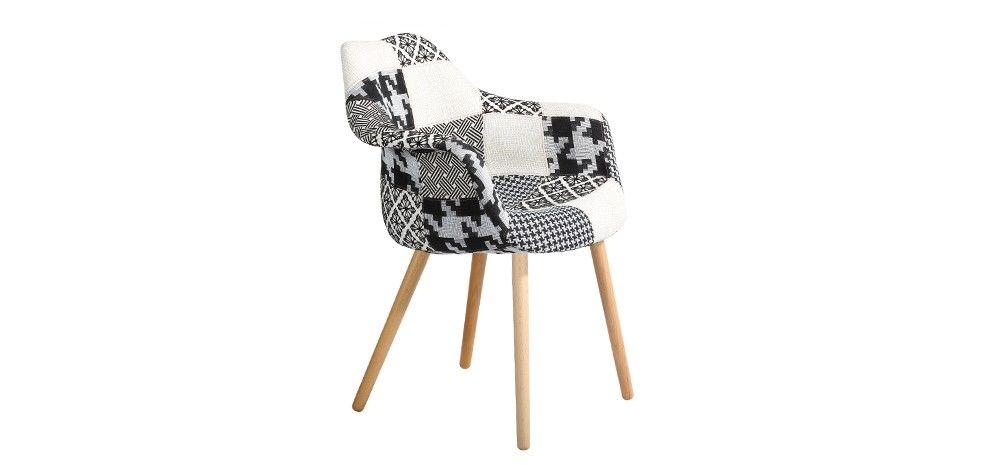 Chaise Patchwork Grise Tissu Petit Prix Objets Super Chouette - Fauteuil patchwork noir et blanc