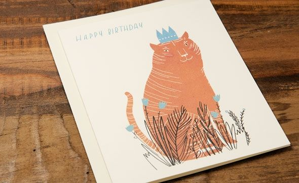 King Cat | Red Cap Cards | Illustrated Greeting Card by Lizzy Stewart #orange