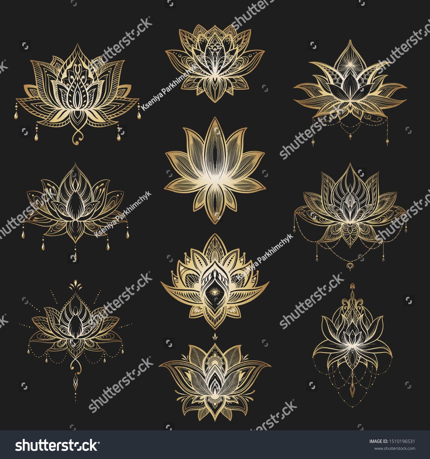 Filigree Lotus Flower Set Vector Handdrawn Stock Vector