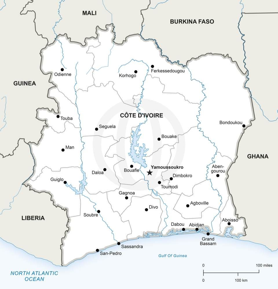 Vector Map of Ivory Coast Political