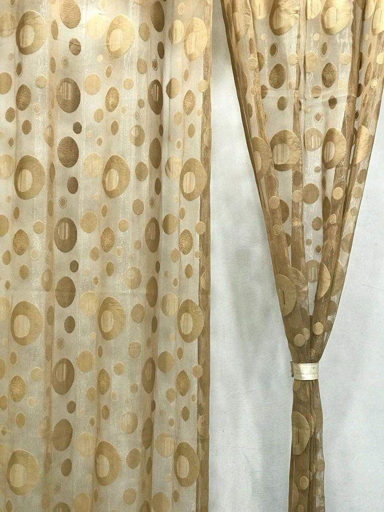 Golden Circles Design Net Tissue Door Curtain Set Of 2(4 x 7 Feet) – Blenzza Deco  #home #homedecor #homedesign #curtains #curtainsstyles
