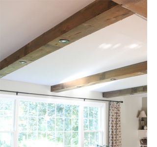 Faux Beamed Ceiling With Downlights Wooden Ceiling Design