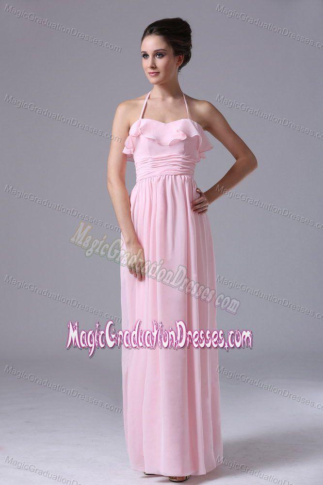 Pretty Halter Baby Pink Chiffon Long Graduation Dress for 8th Grade ...