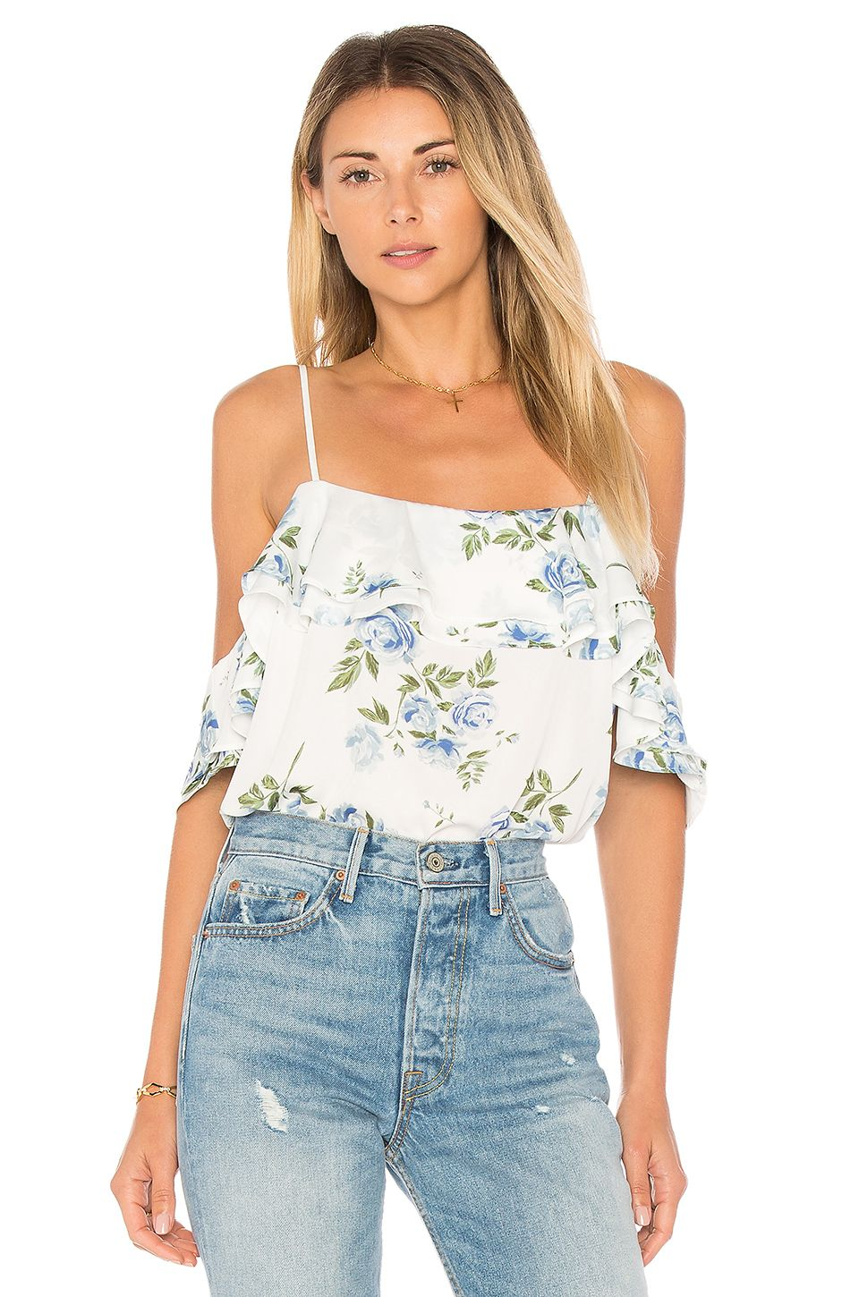 01eb4d033c L Academie The Off Shoulder Bodysuit in Blue Floral