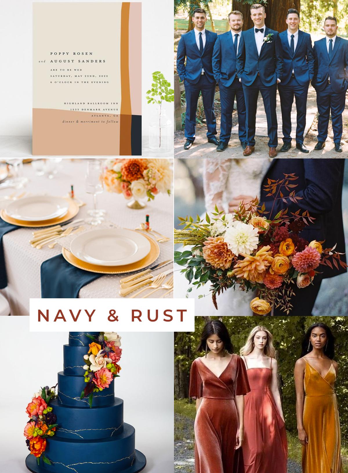 Navy and Rust Wedding theme inspiration from West-South #fallwedding #navywedding #weddingideas #weddingplanning