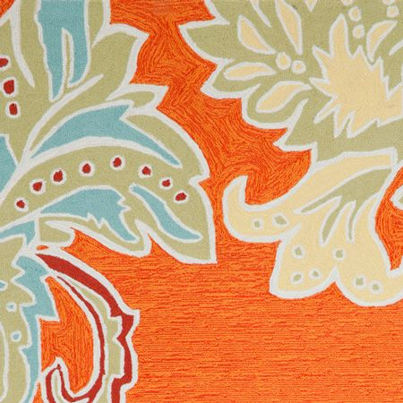 outdoor ornamental leaf border rug (orange) | thos. baker