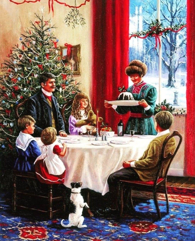 Cena Navidena Ilustracion De Navidad Navidad De Antano Escenas De Navidad