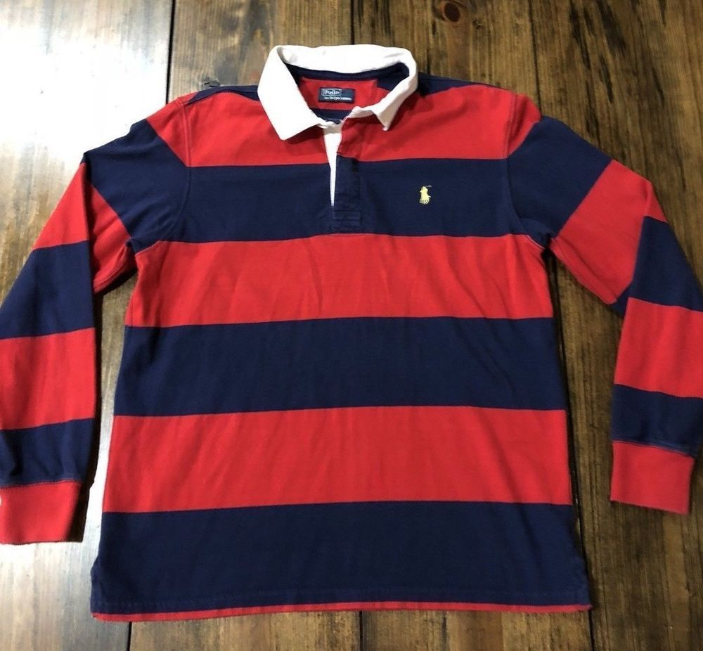a2a6af00fd2 Vintage Polo Ralph Lauren Striped Rugby Shirt Blue Red • Large  #PoloRalphLauren #PoloRugby