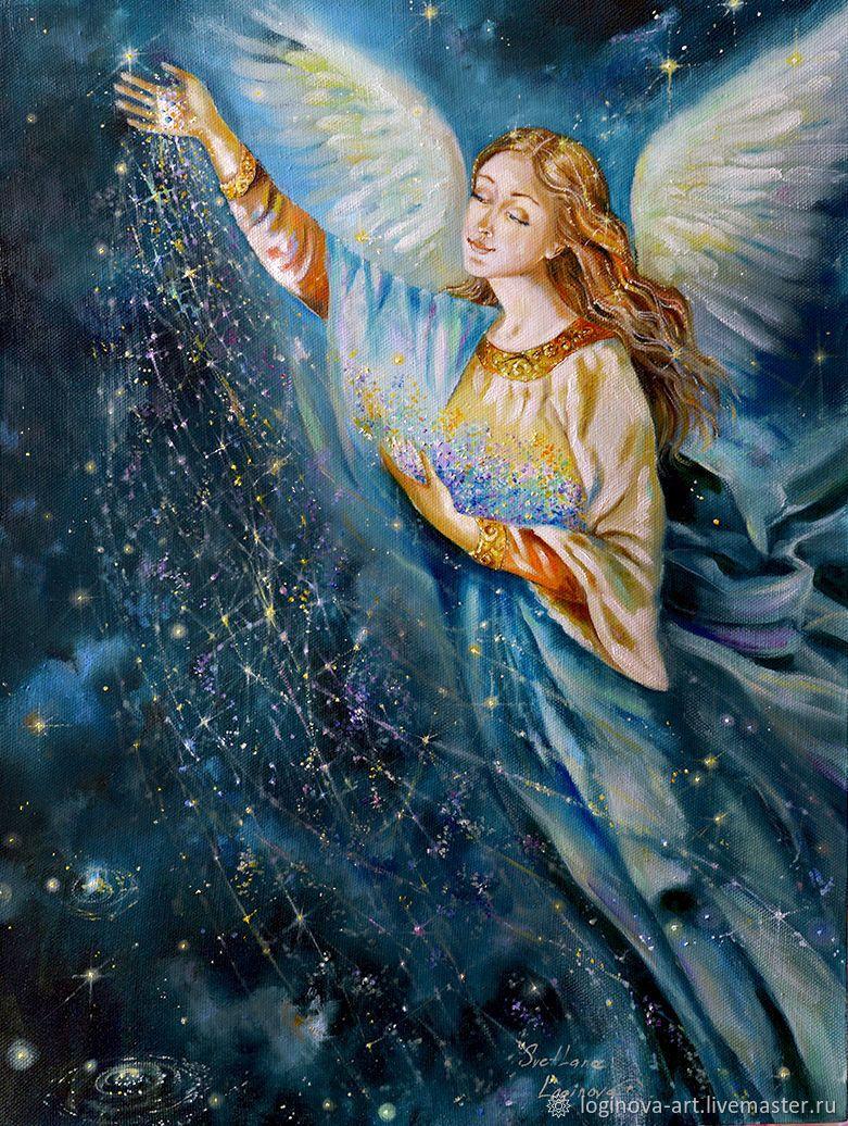 Рождение звезд.-картина с ангелом, картина маслом ...