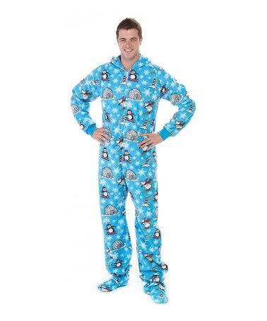 9bdfe904c Take a look at this Blue Winter Wonderland Hooded Footie Pajamas ...
